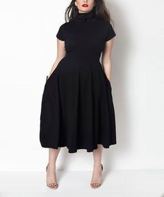 Rebdolls Black Turtleneck Midi Dress - Plus Too by Rebdolls #zulily #zulilyfinds