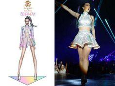 Katy Perry In Custom Roberto Cavalli - Prismatic World Tour. Re-tweet and favorite it here: https://twitter.com/MyFashBlog/status/465589915816718337/photo/1