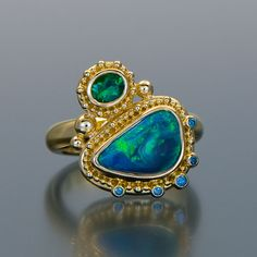 Zaffiro Jewelry granulation 22kt gold Lightning Ridge opal diamonds