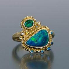 Zaffiro Jewelry granulation 22kt gold Lightning Ridge opal diamonds #opalsaustralia