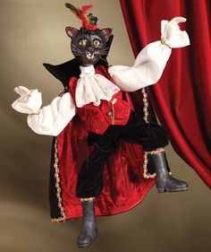 Black Cat Dracula Marionette from The Holiday Barn