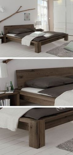 Massives Holzbett aus gebürsteter Wildeiche. Geölt in drei verschiedenen Farben. #massiv #schlafen #bett #holz #schlafzimmer | betten.de http://www.betten.de/wildeiche-bett-massiv-perugia.html