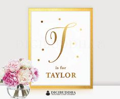 BABY MONOGRAM Gold Foil Print Personalized by digibuddhaPaperie