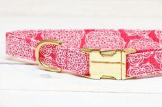 Hot pink floral dog collar for Summer <3