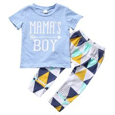 """Adorable """"Mama's Boy"""" shirt with matching geometric pattern pants for a modern look. Material: Cotton,PolyesterFit: Fits true to size, take your normal size"""