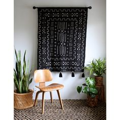 Black Mud Cloth Tapestry Blanket with Tassels