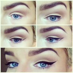 1. Start at the inner corner of your eyelid, using small strokes & the lash line as a guide, draw your liner almost to the end.  2. From the outer corner draw upwards towards the end of the brow to desired wing length.   3. Connect the point of the wing back to the lash line.  4. Fill in the outline. Ta-dah perfect classic winged liner! :)       ALL CREDIT GOES TO SUSIE M.