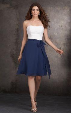 Strapless Chiffon A-line Natural Knee-length Bridesmaid Dresses