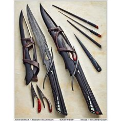 SharpByCoop Gallery of Handmade Knives ❤ liked on Polyvore featuring weapons