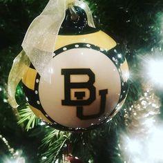Striped & polka dotted Baylor BU ornament