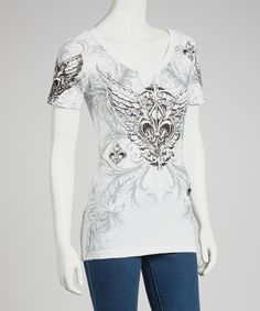 Take a look at this White Fleur-de-Lis V-Neck Tee - Women on zulily today!
