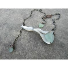 Genuine Shell and Sea Glass, fun lariat necklace