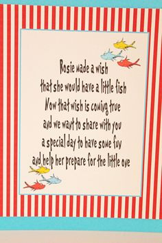 Dr Seuss Baby Shower SIGN One Fish Two Fish theme. $10.00, via Etsy.