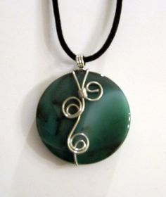 Green Onyx Agate Wire Wrapped Pendant Necklace $24.00