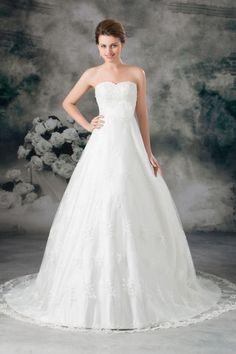 CLAIRE - A-line Empire waist Sweetheart Chapel train Lace Wedding dress