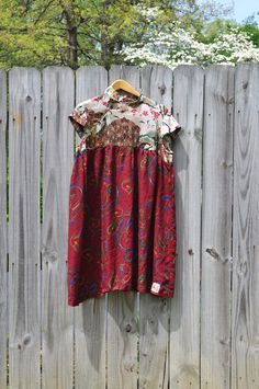 Upcycled Boho Babydoll Dress with Silk by RebirthRecycling on Etsy, $55.00