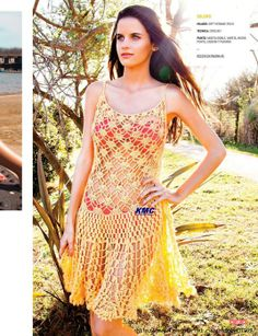 Crochetemoda: Vestido Amarelo de Crochet V