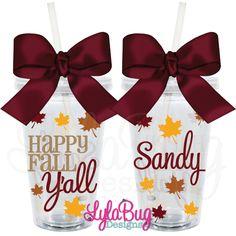 Thanksgiving Happy Fall Y'all Personalized Acrylic Tumbler LylaBug Designs
