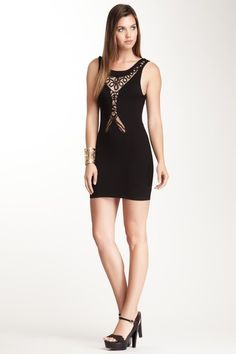 Black Pattern Applique Dress