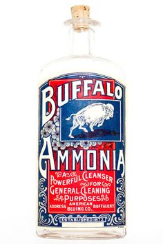 Buffalo Ammonia - nice bottle. Apparently there's this solution you can mix with ammonia, dish washing liquid and water, used to clean precious stone jewelry. Luckily, I don't have that problem; need real jewelry for that.