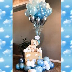Teddy bear balloon baby shower decoration it's a boy Teddybär Ballon Babyparty Dekoration es ist ein Baby Shower Balloon Decorations, Boy Baby Shower Themes, Baby Shower Balloons, Girl Shower, Elephant Decorations, Boy Babyshower Decorations, Baby Shower Boys, Boy Baby Showers, Baby Boy Balloons