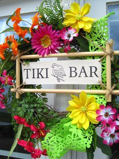 hawaiian bedroom idea  love this wreath for a door (maybe we'll change it to say Tiki hut and not bar!)