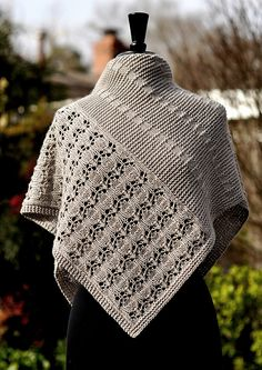 Ravelry: Debussy pattern by Dee O'Keefe Poncho Knitting Patterns, Shawl Patterns, Lace Knitting, Crochet Patterns, Knit Or Crochet, Crochet Shawl, Knit Wrap Pattern, Garter Stitch, Knitted Shawls