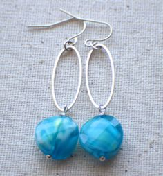 Blue Wave  Dangle Earrings by ThatGirlsDesigns on Etsy, $8.00