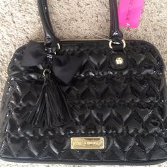 Betsey Johnson Purse BJ Black Patten Leather Bag. My daughter got this as a gift and it wasn't her style  brand new! this is a $130 bag. Betsey Johnson Bags