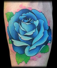 Traditional Rose Tattoo | ... Tattoo Gathering : Tattoos : Traditional Old School : Blue rose