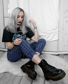 """The Strokes"" printed tee with blue plaid trousers & Dr Martens boots by highinhighschool - #grunge #fashion #alternative"