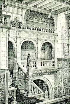 Staircase in Jacobean Style, from Examples of Ancient and Modern Furniture, by Bruce Talbert, 1876