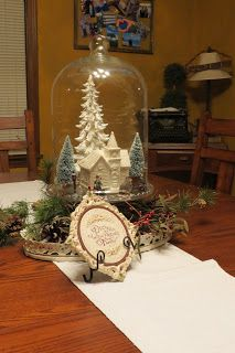 Dippity Dot: Christmas Decorations - Winter scene under glass centerpiece