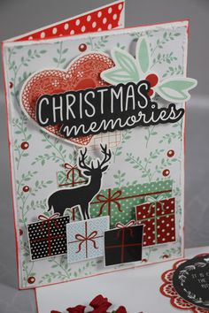 """North Pole """"Christmas Memories"""" Card by Linda Thompson Scrapbook Blog, Scrapbooking Layouts, Christmas Paper Crafts, Handmade Christmas, Christmas 2016, Christmas Themes, Linda Thompson, North Pole, Cleaning Products"""
