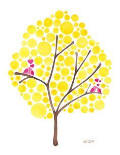 Love Birds Watercolour Art Love is Golden Print Home Wall Art