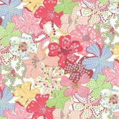 Tissu liberty ® enduit motif motif Mauvey rose, rouge, jaune et vert sur fond blanc (x 0,25m)