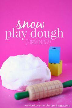 Classroom Recipes: 3 Ingredient No-Cook Snow Play Dough for Preschool