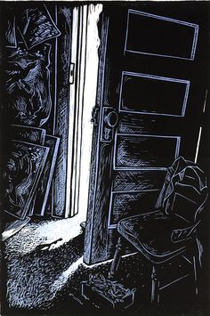Closing Doors - Linocut by Lori Stewart