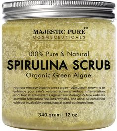 Say goodbye to dull looking skin with Majestic Pure Organic Spirulina Scrub! Not only that it will help you relax & wash away tension, the nutrient-rich spirulina scrub provides a perfect buffer to re