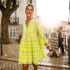 Devotion Twins #embroidery #bohostyle #summeroutfit Lime Dressing, Boho Fashion, Summer Outfits, Cover Up, Neon, Cotton, Clothes, Collection, Twins