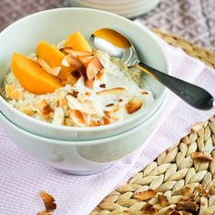 "CREAMY PEACHES AND COCONUT QUINOA CEREAL [Grain Free, Gluten Free, Refined Sugar Free]  INGREDIENTS ""    ½ cup quinoa     ¼ cup amaranth     1 cup young coconut water     1 cup + ½ cup almond milk     ¼ tsp salt     2 tbsp unsweetened shredded coconut     1 peach, peeled and cut into 1″ chunks (save a few slices to garnish, if desired)     1 tsp pure vanilla extract...     2 tbsp young coconut water"""