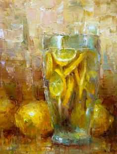 """Daily Paintworks - """"Lemonade"""" - Original Fine Art for Sale - © Julie Ford Oliver Painting Still Life, Still Life Art, Paintings I Love, Art Paintings, Fruit Painting, Painting Art, Contemporary Abstract Art, Abstract Landscape, Art Plastique"""