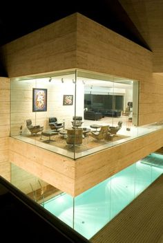 Aesthetic Modern Sitting Room Above Pool.