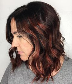 Dark Brown Bob With Copper Highlights