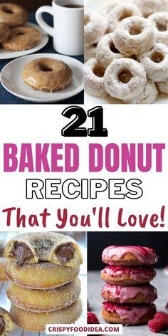 Easy Donut Recipe, Baked Donut Recipes, Baked Doughnuts, Snack Recipes, Dessert Recipes, Snacks, Oreo Dessert, Pumpkin Dessert, Mini Desserts