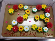 Daffodils, Roses, Sunflowers, and Daisy Cupcake creation