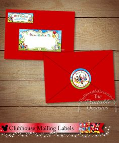 Clubhouse Address Labels and Envelope Seal, Clubhouse Return Address Label, Mickey Mouse, Minnie Mouse, Donald and Daffy Duck, DIY Printable