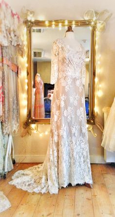 Ivory French lace over oyster silk satin wedding dress with 3/4 lace sleeves by Joanne Fleming Design