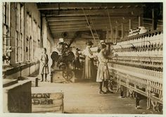 Men, women, and young children worked in the cotton mills in Lancashire, England weaving cloth from morning to night. Many died at a young age from working in these dirty, noisy, and dangerous conditions.