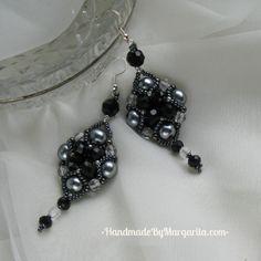 Black-grey earrings $15 #Handmade, #Beading,#Black, #Jewelry, #Jewellery, #Gift, #Earrings, #Accessories Black Jewelry, Handmade Accessories, Margarita, Jewelery, Beading, Black And Grey, Drop Earrings, Gifts, Fashion